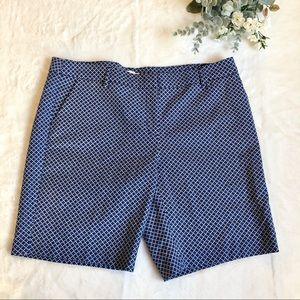 Dalia Womens Blue Patterned Shorts Size 14